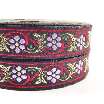 Red Lilac & Gold Floral Vine Woven Embroidered Jacquard Trim Ribbon - 1 Meter or 3.3 Feet or 1.09 Yards