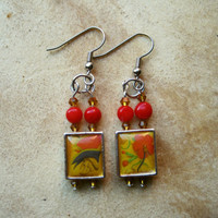 Vintage Beaded Earrings Red and Gold Tiled Drops by PiggleAndPop