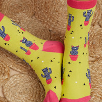 Cat Cactus Crew Socks - Socks & Tights - Accessories