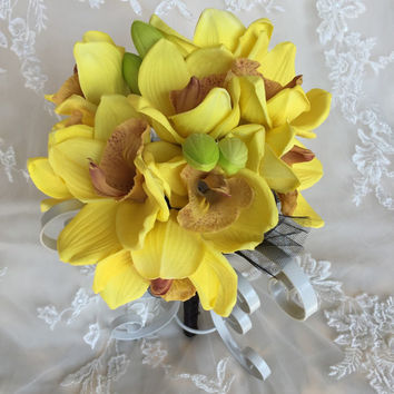 Yellow Orchid Bouquet - Yellow Bridesmaid Bouquet - Cymbidium Orchid Bouquet - Yellow Cymbidium Bouquet - True Touch Orchid Bouquet