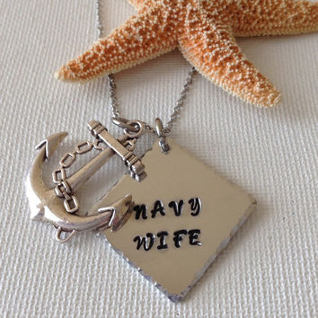 Navy wife necklace, anchor necklace, gifts for navy wives, handstamped, deployed navy
