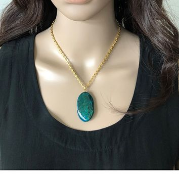 Yellow Turquoise Oval Stone Gold Chain Necklace