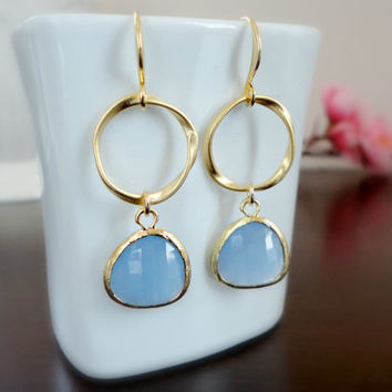 Tanzanite Blue Earrings, Eternity Love Gold Dangle Earrings, Wedding Gift, Bridesmaid Earrings, Prom Earrings, Simple Everyday Jewelry
