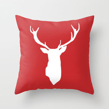Red Deer Antlers Pillow Cover - Holiday Decor - Christmas Accent Pillow - Decorative Pillow -Rustic Woodland Home Decor - By Aldari Home