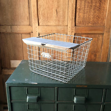Vintage Wire Baskets, Gym Locker Basket, Industrial Wire Basket, Metal Storage Basket