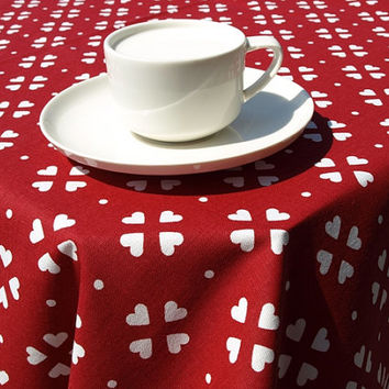 Tablecloth white red small hearts Scandinavian Design , runner , napkins , curtains , pillows available, great GIFT