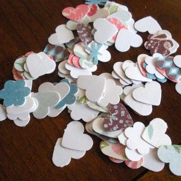 Heart and Flower Cut Outs: Little Assorted Paper and Cardstock 25, 100, 250, 500 - Scrapbook Embellishment Cardmaking 1/2 inch table scatter