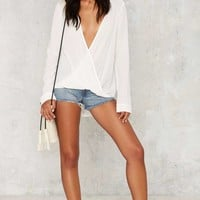 Get It Twisted Plunging Blouse