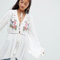Glamorous bird embroidered top at asos.com
