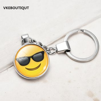New Hot Fashion Emoji Smiley Face Time Precious Stones Pendant Metal Glass Keychain Jewelry for Women Men Girl Gift