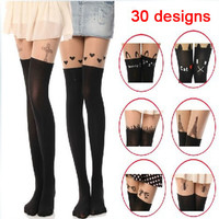 Mixed style women Velvet spurious tattoo thigh stockings Little devil cat skull heart cross jacquard tights pantynose