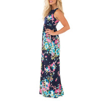 Boho Floral Printed Sundress O-neck Summer Sexy Pleated Maxi Dress 2017 Casual Beachwear Femininos Vestidos Plus Size LX328