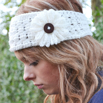 "Cream Crocheted Earwarmer Headband Fits heads 18"" - 22"""