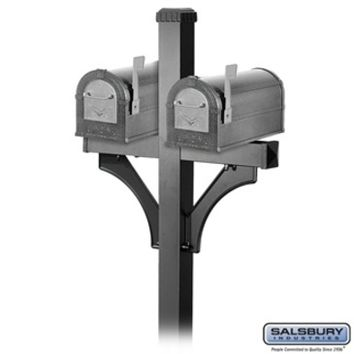 Salsbury Industries Two (2) Heavy Duty Eagle Rural Mailboxes - Pewter - Silver Eagle with 2-Sided Deluxe Post - Black for (2) Mailboxes
