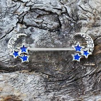 316L Stainless Steel Jeweled Moon and Star Nipple Bar