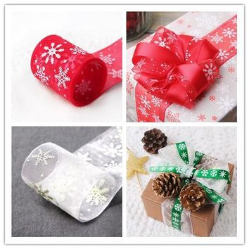 40mm* 6 yards Snowflake Snow Red / White Ribbons for Biscuits Cake Packaging Wedding decoration and Christmas Gifts Wrapping