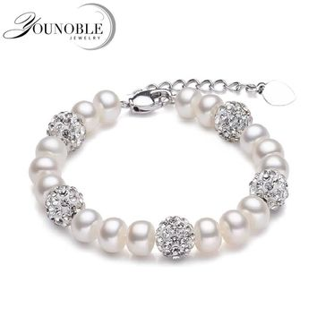 Real Beautiful freshwater pearl bracelet women,wedding cultured white pearl bracelet 925 silver jewlery girl birthday gift box