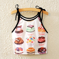 Summer Fashion Cupcake Pattern Print Midriff Crop Tops Sleeveless Casual Vest= 4765279684
