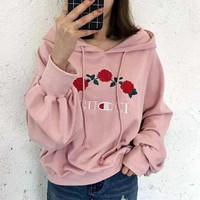 GUCCI : Champion Flower Rose Print Sweater Grey Hoodie Pullover Grey