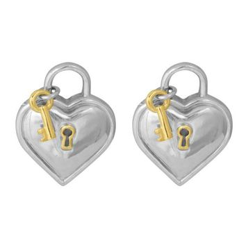 DCCKG2C Tiffany & Co. Vintage Heart Lock and Key Clip On Earrings