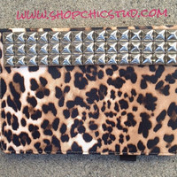 Studded Apple iPad Mini Case Leopard Print  - Silver OR Gold OR Black Studs -