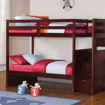 Adam Wooden Bunk Bed with Stairs