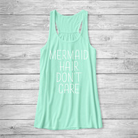 Mermaid Hair Don't Care Tank Top, Funny Shirt, Vacation Shirt, Beach, Ocean, Cotton Screen Printed Tank Top,  bella tank, Bella Canvas