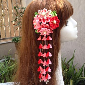 hand made hairpin cloth hair clip barrettes Japanese chinese style anime cosplay accessories free shipping flower