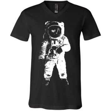 Space Astronaut Man on The Moon White Print Asst Colors V-Neck
