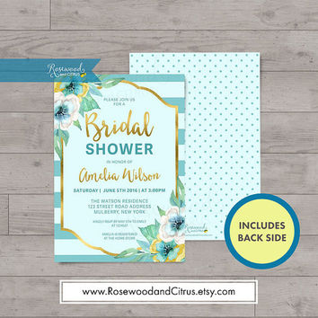 Floral Bridal Shower Invitation, Faux Gold Bridal Shower Printable Invitation, Mint Bridal Shower Invites,Stripes, Bridal Brunch Invitation,