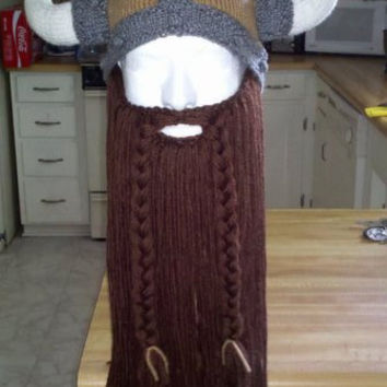 custom viking hat with beard by windsong47 on Etsy