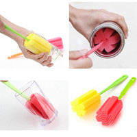 1PC Fashion Sponge Brush Bottle Cup Glass Washing Cleaning Kitchen Cleaner Tool Random Color = 1645840324