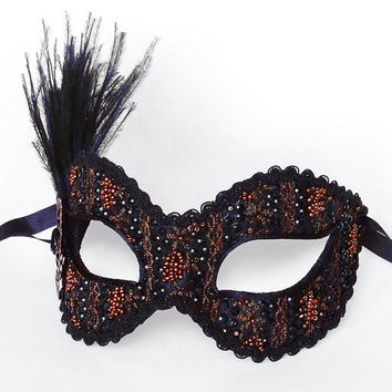 Copper And Black Masquerade Mask With Feathers - Venetian Style New Year's Masquerade Ball Mask Covered With Rhinestones And Beads