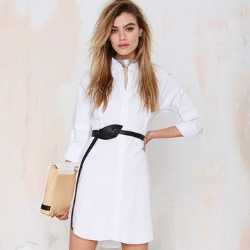 While Long Extended Sleeve Polo Dress
