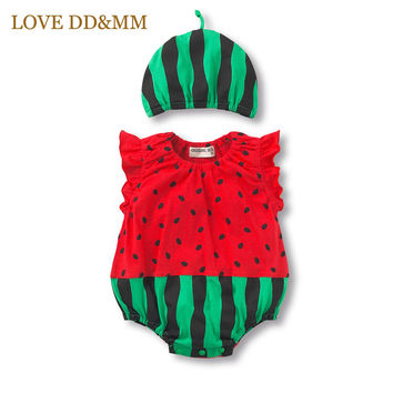 2017 Summer New Baby Boys Clothes Fruits Baby Girl Romper Cute Leisure Bees Watermelon  Ladybug Jumpsuit + Hat Sets