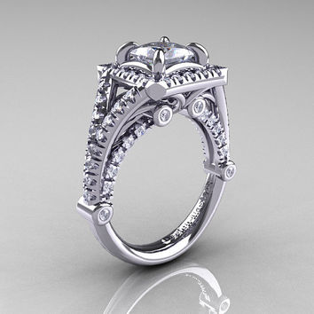 Modern Art Nouveau 14K White Gold 1.23 Carat Princess Russian CZ and White Diamond Engagement Ring, Wedding Ring R336-14KWGDCZ