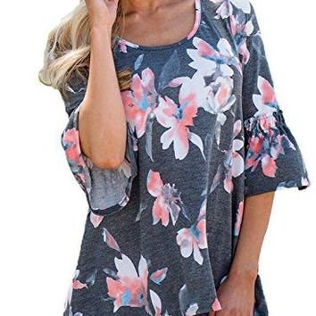 HOTAPEI Womens Summer Casual Loose Floral Printed 34 Ruffled Sleeve Tunic Hi Low T Shirt Blouse Tops