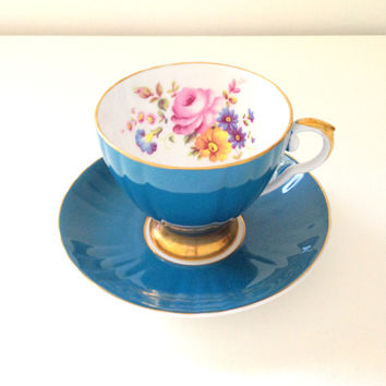 Vintage English Royal Grafton Fine Bone China Footed Tea Cup and Saucer Elegant Tea Party - c. 1957 - 1960