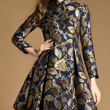 Multicolored Collar Long Sleeve Jacquard Dress with Pocket