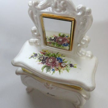 Vintage Berger Ceramic Trinket Box Ceramic Jewelry Box Vanity Dresser Vanity Table Vanity Mirror Mini Mirror Italy Gift Doll Dresser Flowers