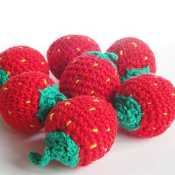 Crochet Strawberries (2pcs+) Pretend food Play Food Play Kitchen food Kids Toy Crochet Educational toy Kitchen decor Stuffed Montessori