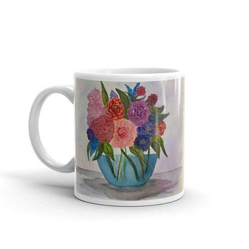 Flower coffee mug, Watercolor Coffee cup, Gift for mom, Floral cup, pretty mug, painted coffee mug, Art mug, unique mug, artsy coffee cup