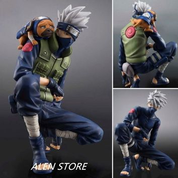 Naruto Sasauke ninja Anime  Action Figures Hatake Kakashi Ver2 Japanese Anime Statue Figurine For Kids Collectible Toy 15cm Doll AT_81_8
