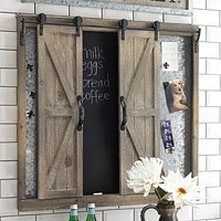 Sliding Barn Door Chalkboard and Metal Pin Board - 34-in