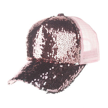 2017 Women Girl Baseball Hats Sequins Paillette Bling Shinning Mesh Baseball Cap Striking Pretty Adjustable Adult Party Club Hat