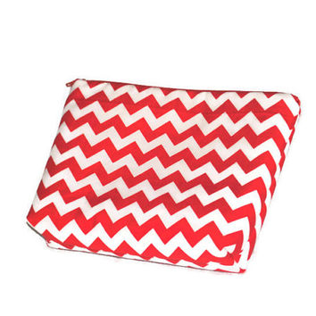 Red and White Chevron Cosmetic Bag // make up pouch // Zippered pouch // Polka Dot Lining