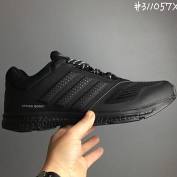 ADIDAS Leather cloth sports  shoes L-CSXY  Black