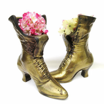 Vintage Victorian Boot Planters, Brass Shoe Vases, Metal Bookends – Fireplace Mantel Decor