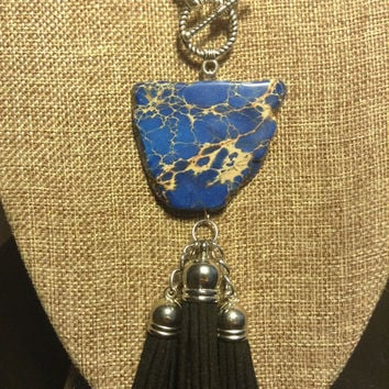 Black Leather Tassel Silver Chain Blue Sea Sediment Jasper Natural Stone Necklace