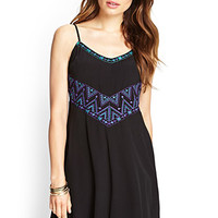 LOVE 21 Embroidered Cami Slip Dress Black/Purple